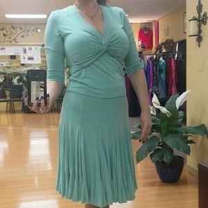Aqua knit skirt set